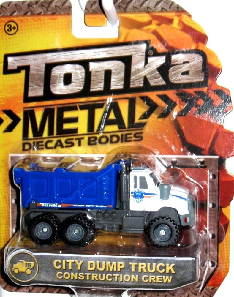 City dump truck tonka 2014 metal die cast bodies realistic tires 1 64 scale