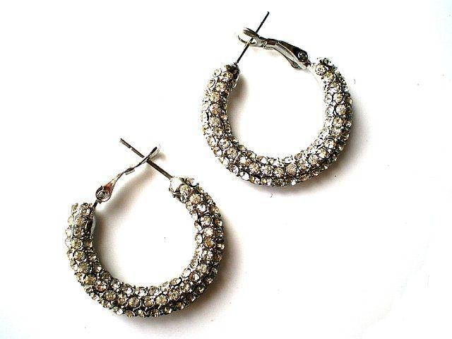 Pave Crystal Hoop Earrings