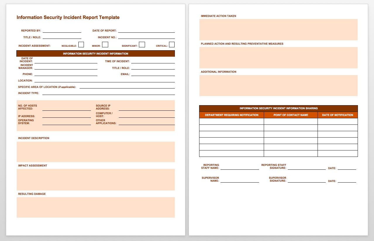Free Incident Report Templates Smartsheet  Business English