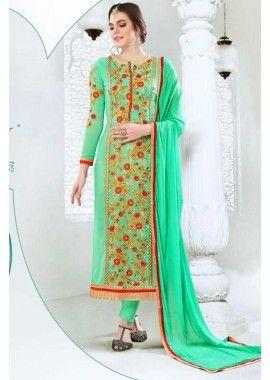 Spring Green Georgette Salwar Kameez, - £65.00, #FashionUK #DesignerSuit #EidSepcialDress #Shopkund