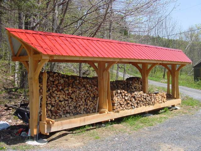Best Red Roof Timber Frame Woodshed Rustic Woodshed 400 x 300