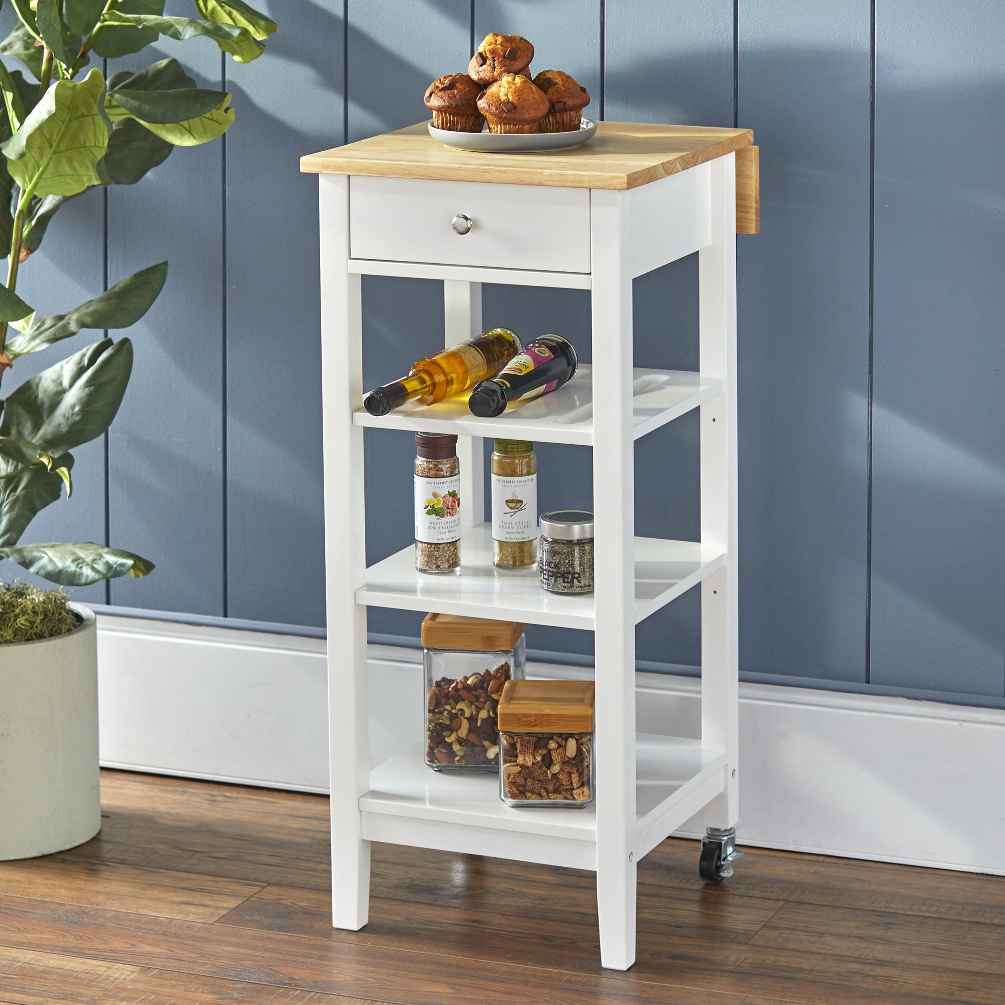 Mainstays Kitchen Island Cart With Drop Leaf Top White Finish Walmart Com Kitchen Island Cart Kitchen Cart Island Cart