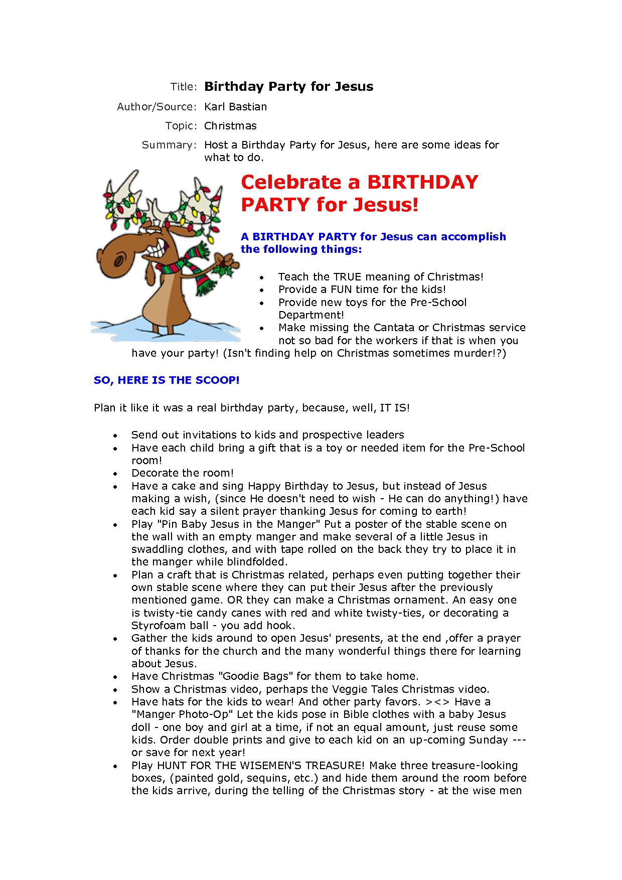 Christmas Party Invitation - Jesus Birthday Party Invitation ...