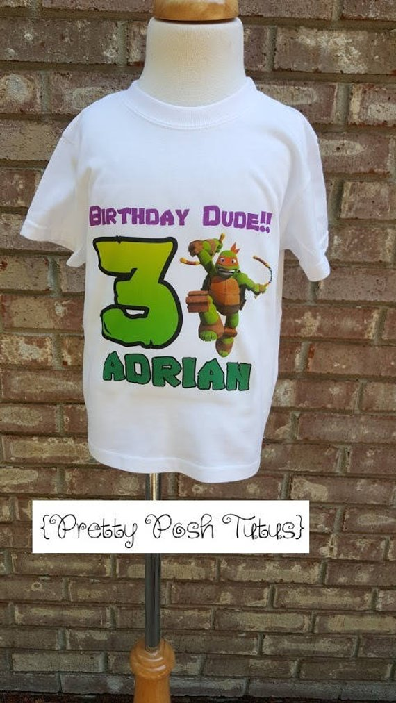Ninja Turtle Birthday Shirt Boys Any Age And Name 2t 3t 4t 4 5 6 7 8 10 12 T