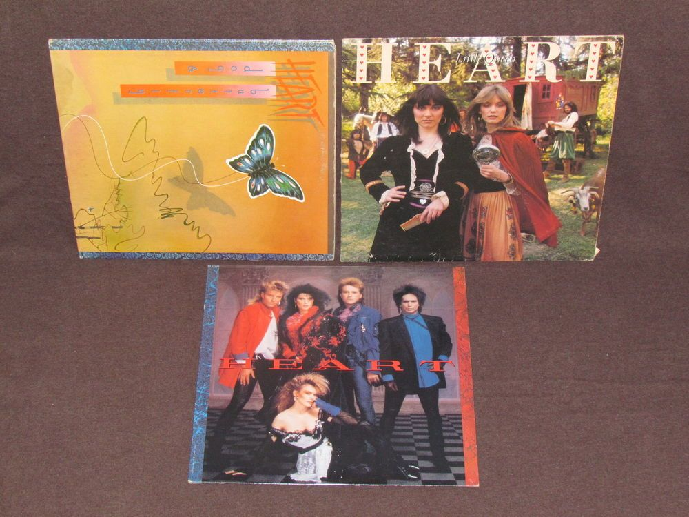 HEART 3 LP RECORD ALBUMS LOT COLLECTION Rock Band Little Queen/Dog & Butterfly+