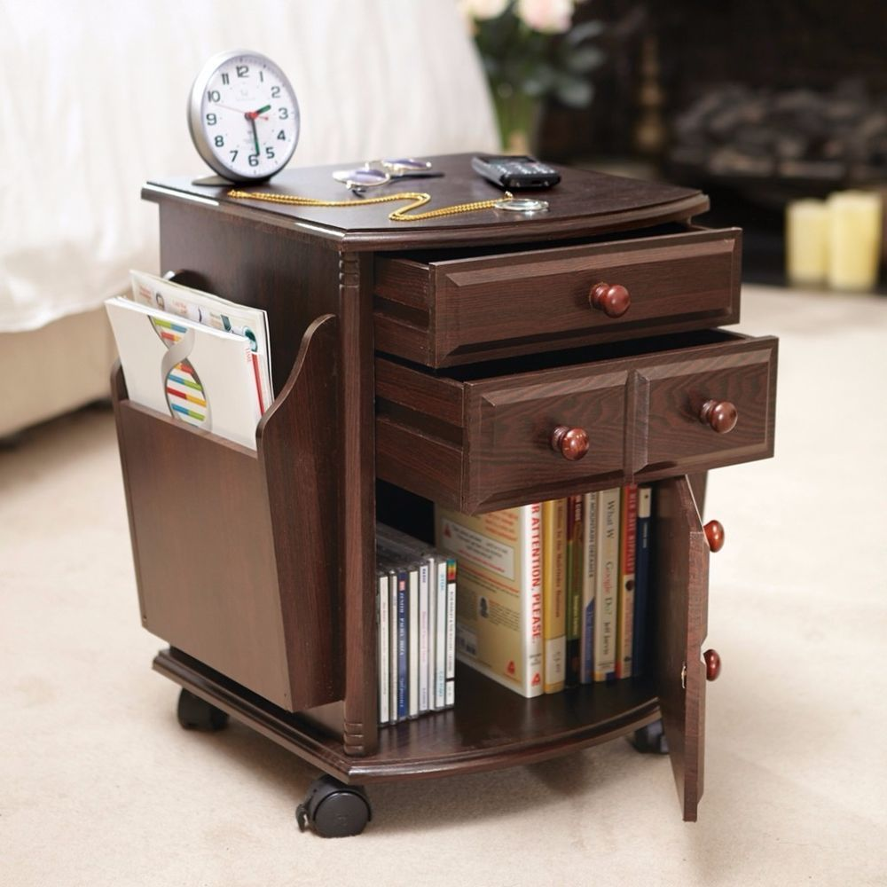 Multi Storage Mahogany Finish Companion Side Table With Pocket Rolling Wheels Multistoragetable Table Multistorage St Table Storage Storage Collections Etc