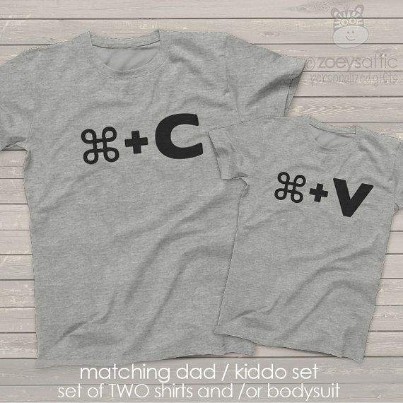 Funny take on Mac copy paste matching dad and kiddo t-shirt or bodysuit gift set - perfect gift for Father's Day MDF1-003-a tdRXS6azTk