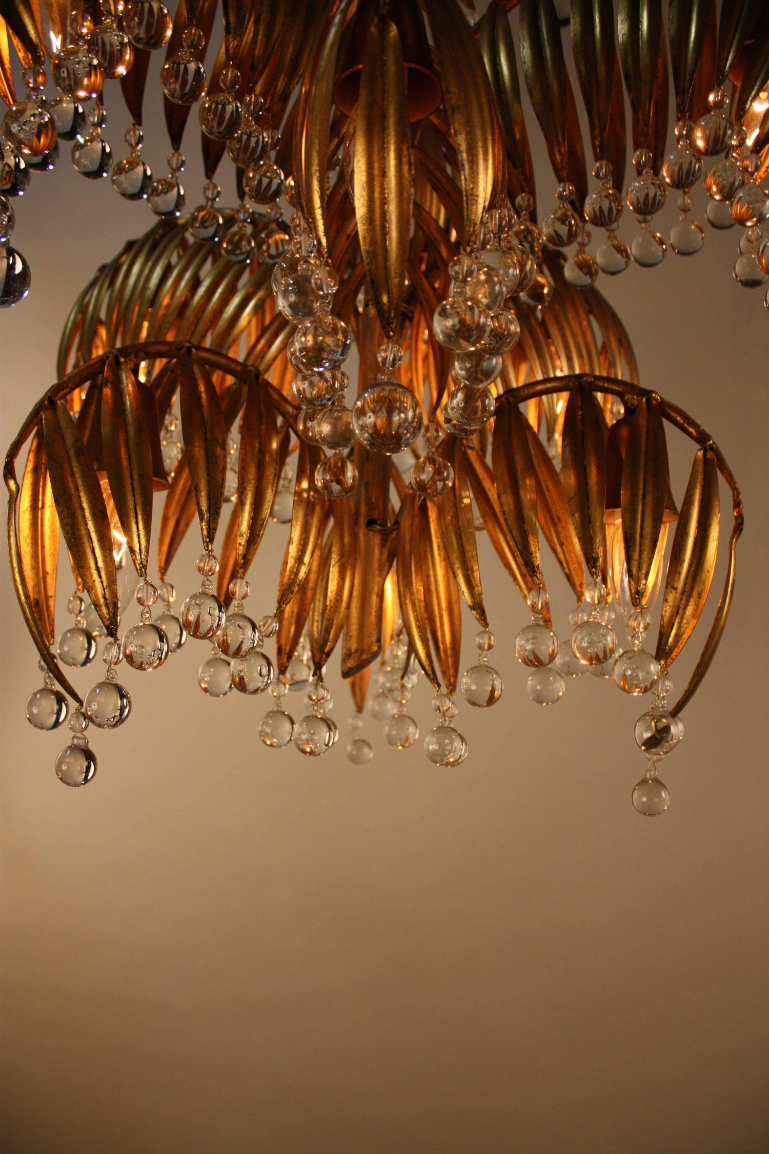 Handcrafted Gold Leaf On Metal Palm Tree Crystal Chandelier From