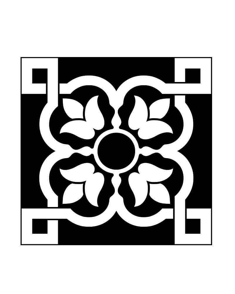 Set of 24 Black and white Tiles Decals bathroom flowers stickers ...