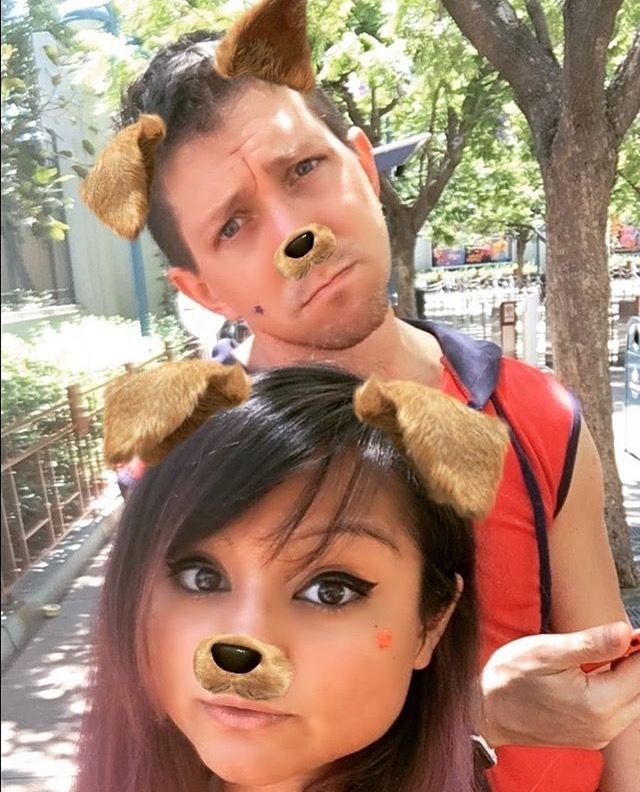 Jason and jess with the dog filter!!! Ahhhh>_<