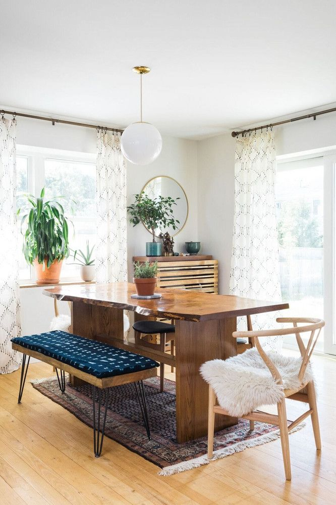 A Suburban Home Gets A Modern Bohemian Makeover Boho Dining Room