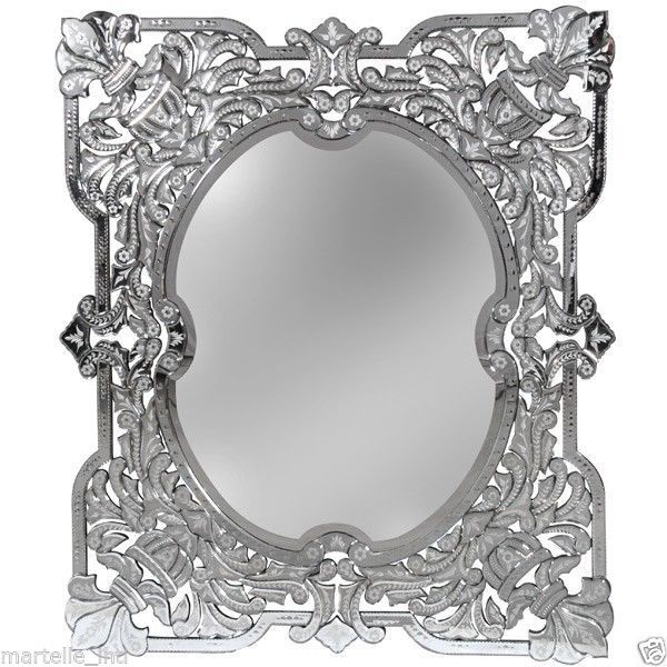 Venetian Mirror Large Glass Silver Frame 4.5 Ft Tall Intricate Hand ...