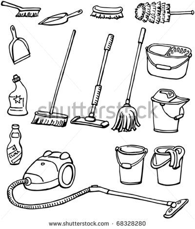 Cleaning Equipment Set Of Housekeeping Tools Hand Drawn