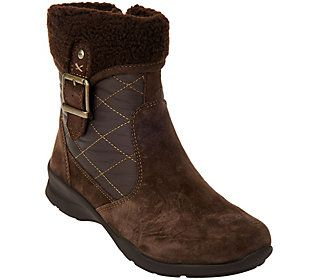 Earth Quilted Leather Boots with Faux Fur Lining - Pinnacle