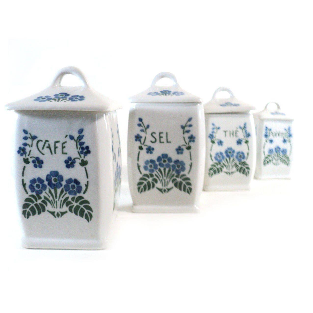 4 Pots A Epices Ceramique Boite Fleur Bleu Et Vert Pot De Cuisine