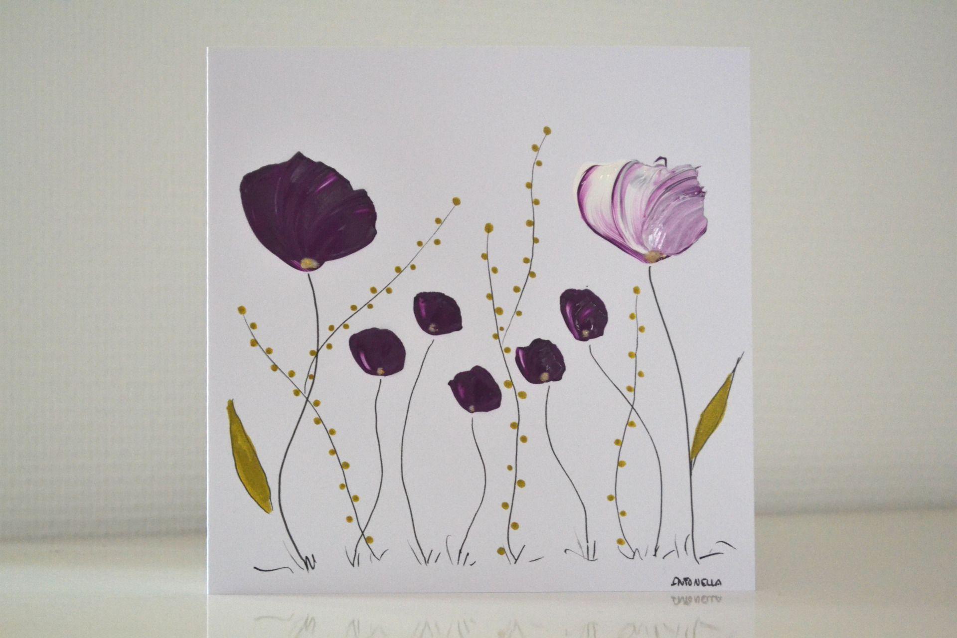 carte romantique fleurs peinte carte anniversaire femme carte l gante originale cartes par. Black Bedroom Furniture Sets. Home Design Ideas