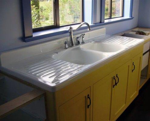I Love The Vintage Porcelain Sink With Drain Boards Vintage