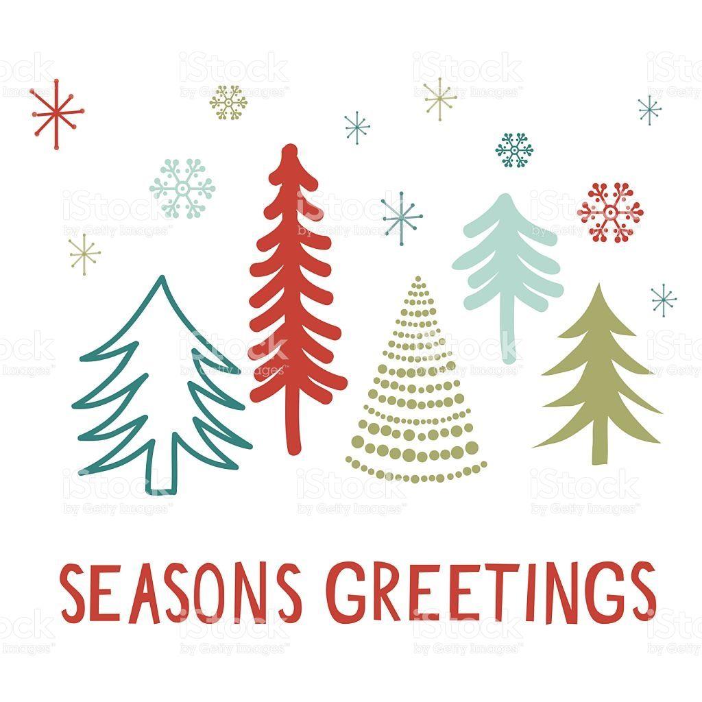 seasons greetings card with tree design  seasons