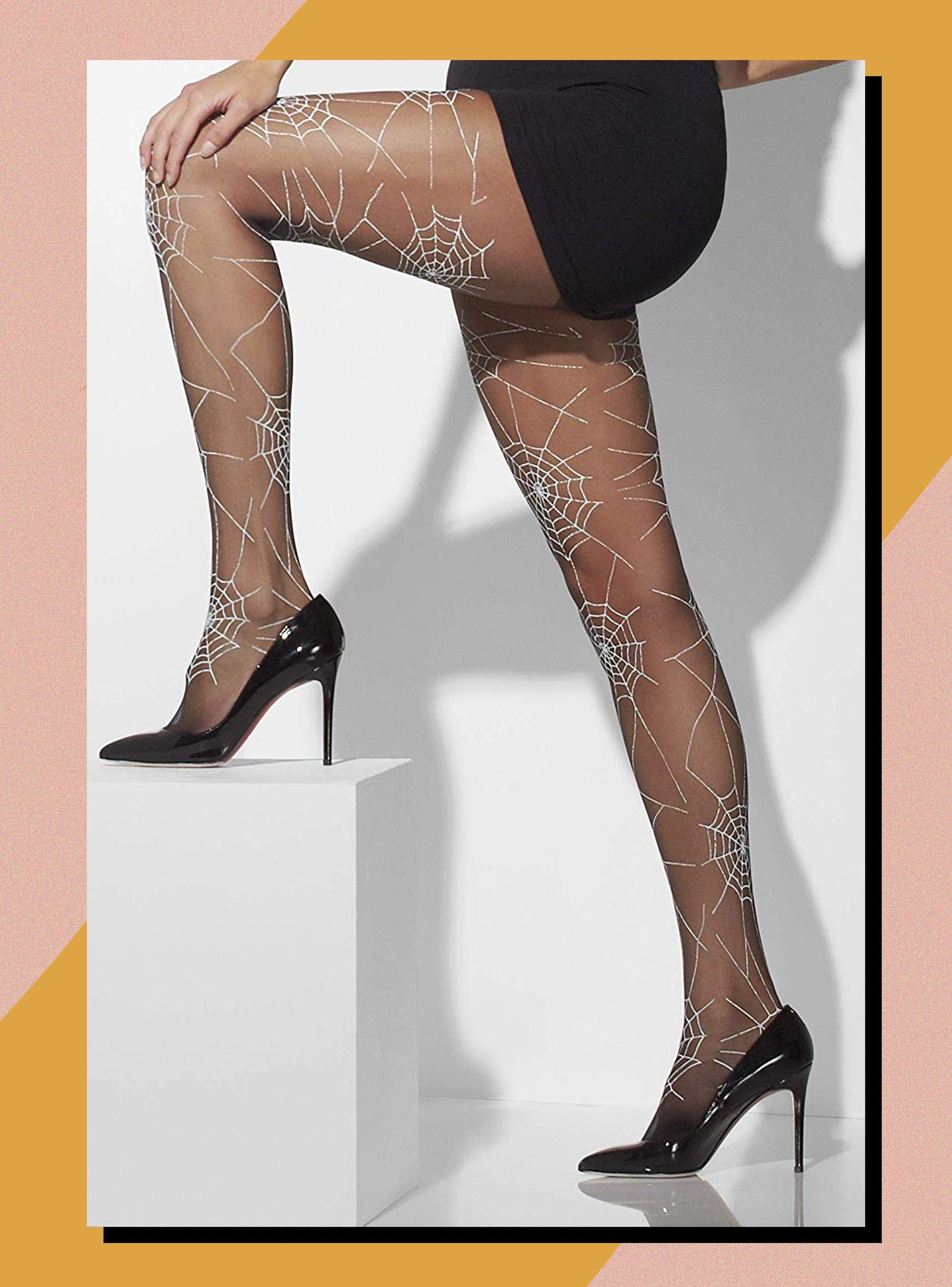 Adult Spider Web Tights Womens Halloween Fancy Dress Costume Accessory