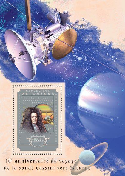 Post stamp Guinea GU 14610 b10th anniversary of the spacecraft Cassini's arrival at Saturn (Giovanni Domenico Cassini (1625-1712))