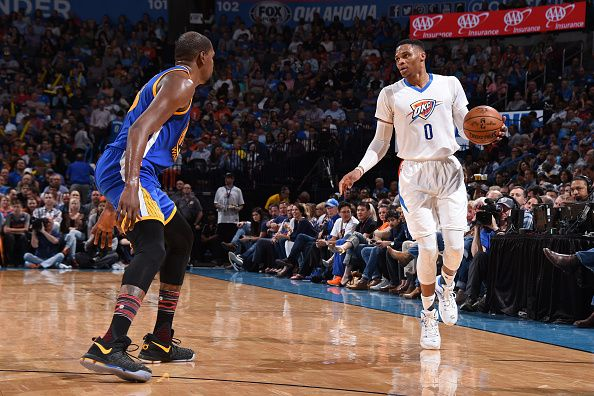 Russell Westbrook of the Oklahoma City Thunder handles the ball against the Golden State Warriors on February 11 2017 at Chesapeake Energy Arena in...