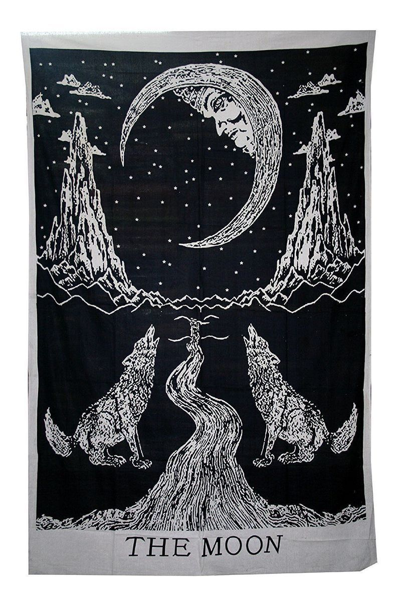 Black & White Moon Tarot Tapestry - Size Twin images