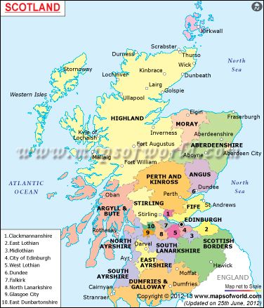 Scotland map shows the political and geographical location of its