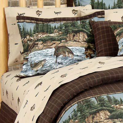 River Fishing Sheet Sets Rustic Bedding Fishing Themed Bedroom