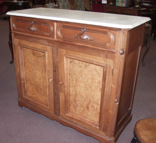 Charmant Antique Victorian Marble Top Sideboard Buffet Cabinet    Use For A Stand Up  Desk