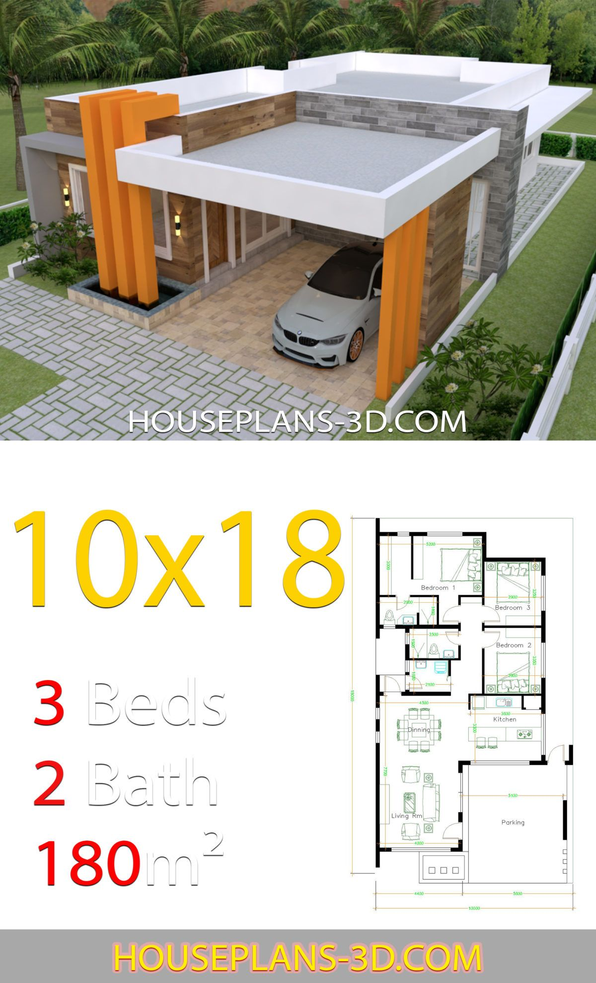 House Design 10x18 With 3 Bedrooms Terrace Roof House Plans 3d Projetos De Casas Gratis Projetos De Casas Pequenas Projetos De Casas Modernas