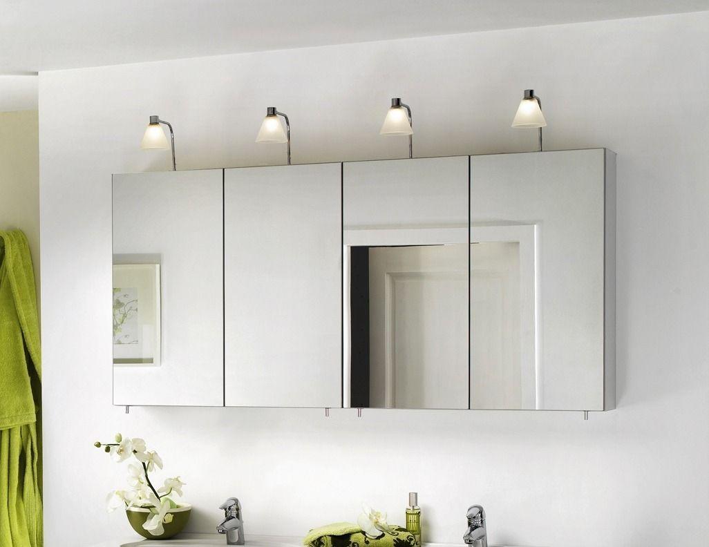 Mirrored bathroom wall cabinet plus lighting white art