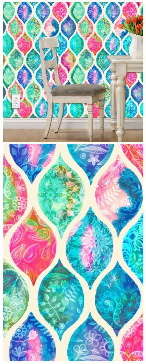 watercolor ogee patchwork pattern by micklyn #wallpaper # ...
