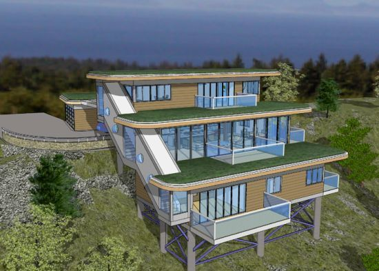 Ff45f1eb056a62ad337617a7a566642e Jpg 550 393 Sloping Lot House Plan Waterfall House House On Stilts