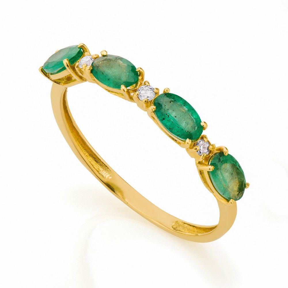 a16b54b6bc9fa Anel em Ouro 18k Meia Aliança Esmeraldas e Diamantes an32268 - Joiasgold