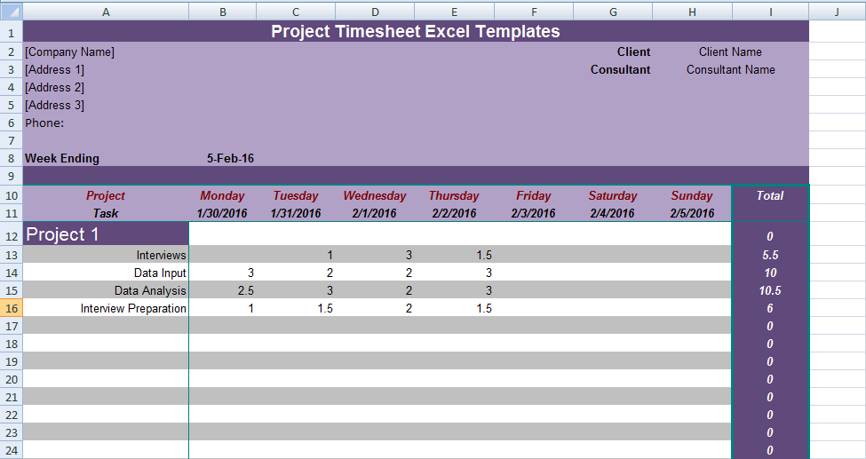 Get Project Timesheet Excel Templates  Excel Project Management