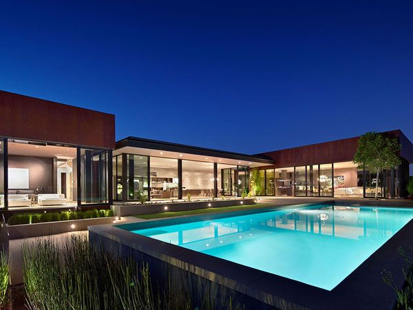 The nightingale residence has sweeping view of the hollywood hills beverly hills downtown la and the pacific ocean