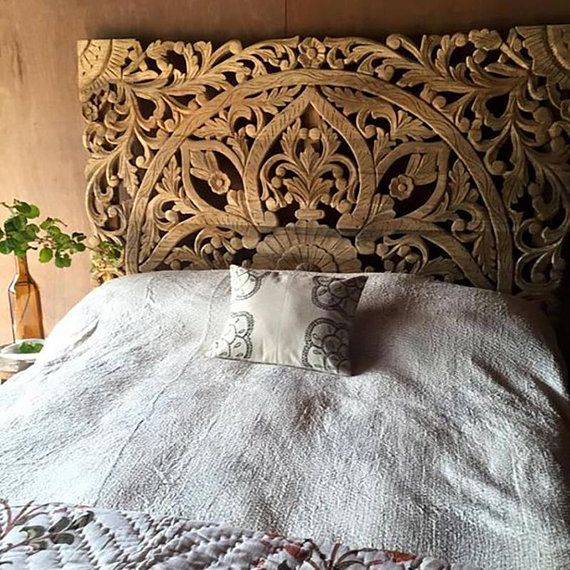 6b602bc164 King Size Reclaimed Wood Headboards Decorative Carved Wall | H-O-M-E ...