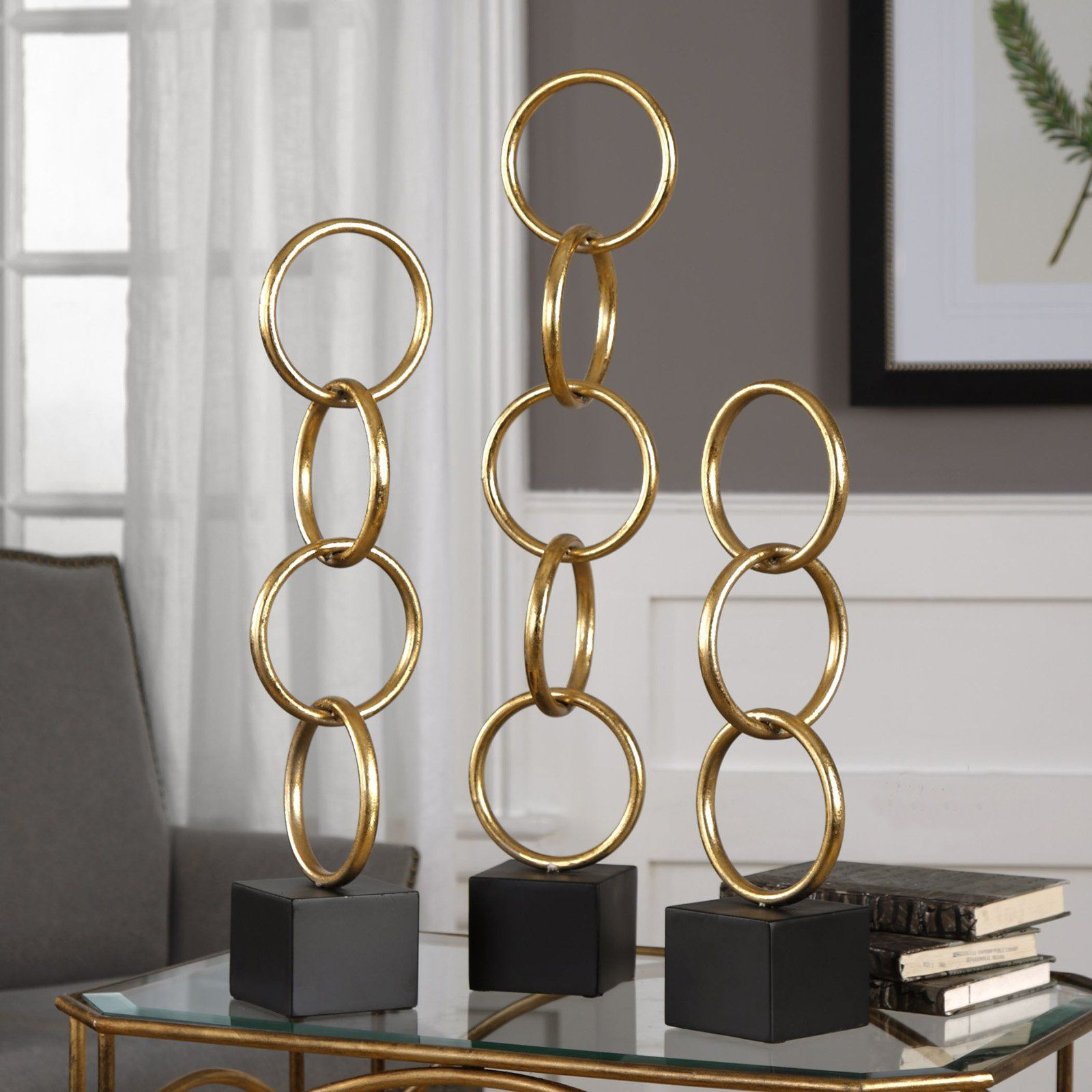 Uttermost Chane Gold Sculpture Set Of 2 In 2019 Rustic