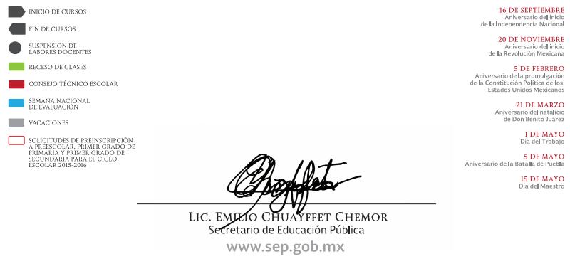 Calendario SEP Ciclo escolar 2014-2015