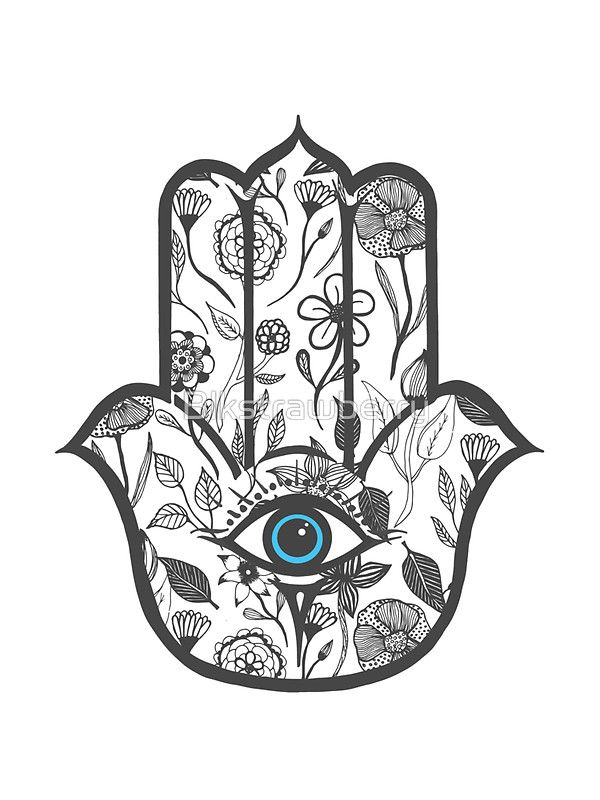 Simple Hand Drawn Floral Hamsa Stickers By Blkstrawberry