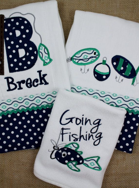 Monogrammed burp cloth monogrammed monogrammed bib fish fishing embroidered and appliqued fishing burp by appliquesbygranjan 4500 negle Gallery
