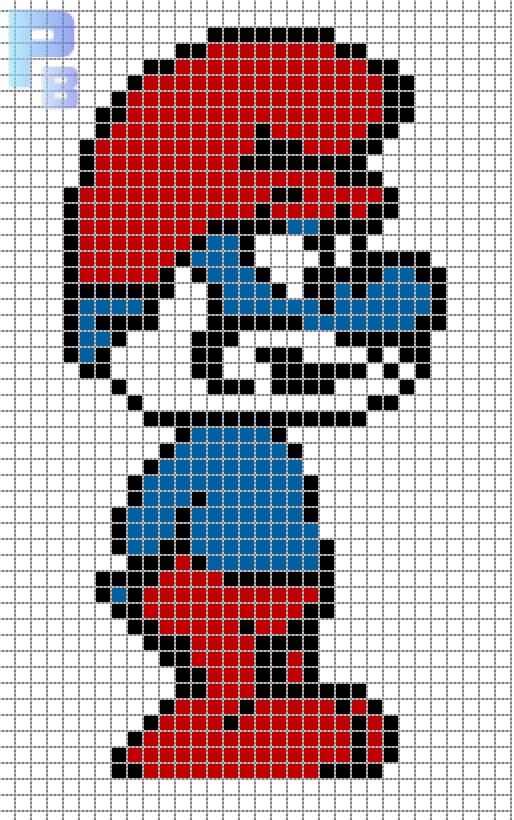 Grand schtroumpf pixel art pinterest hama perles hama et perles - Comment dessiner un schtroumpf ...