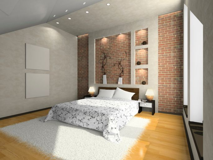 Small Bedroom With Brick Wall Design Light Wood Floor White Rug And Sloping Ceiling Brick Wall Bedroom Wallpaper Design For Bedroom Master Bedrooms Decor