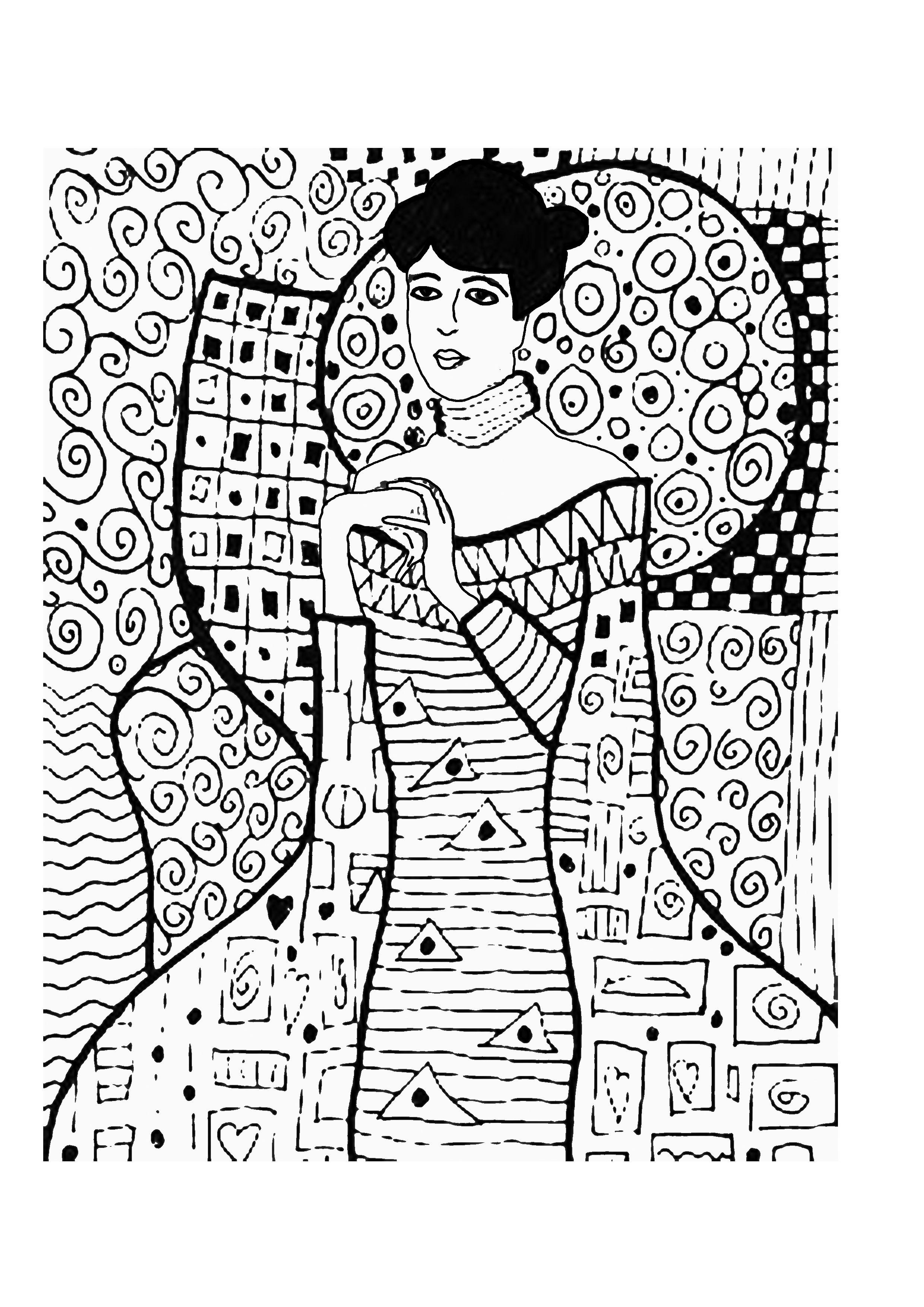 Retrato de Adele Bloch Bauer. Klimt   Para colorear e ilustrar ...