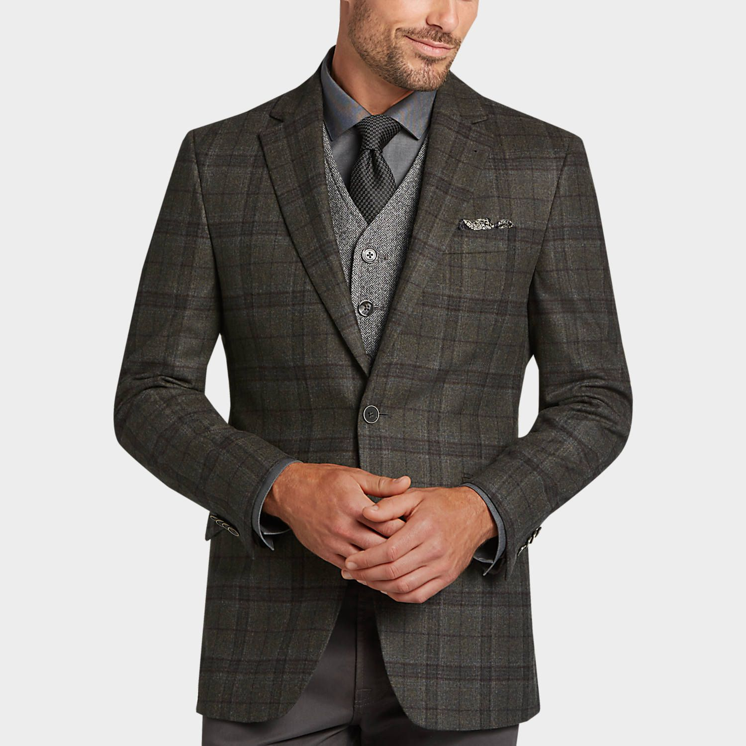 400 Buy a Joseph Abboud Tan Houndstooth Slim Fit Sport