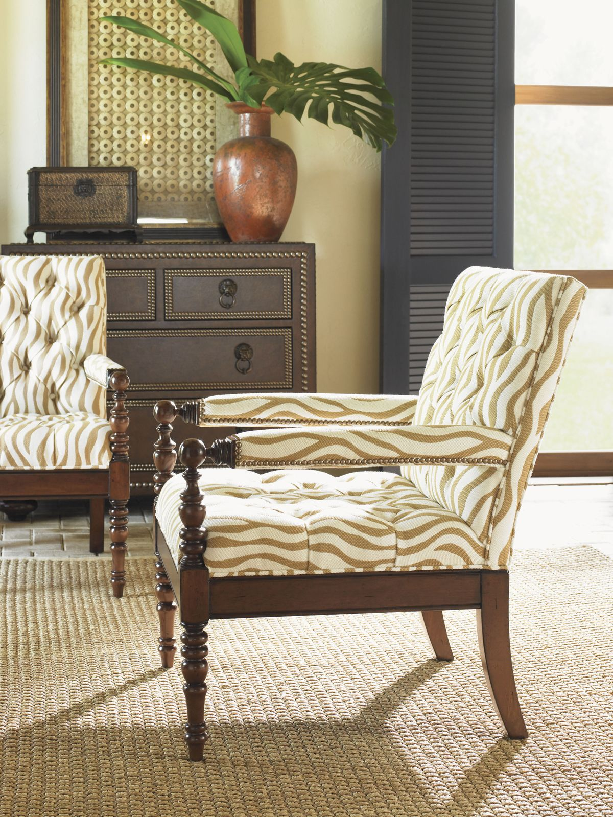 Tropical Living Room With Tommy Bahama Accent Chair