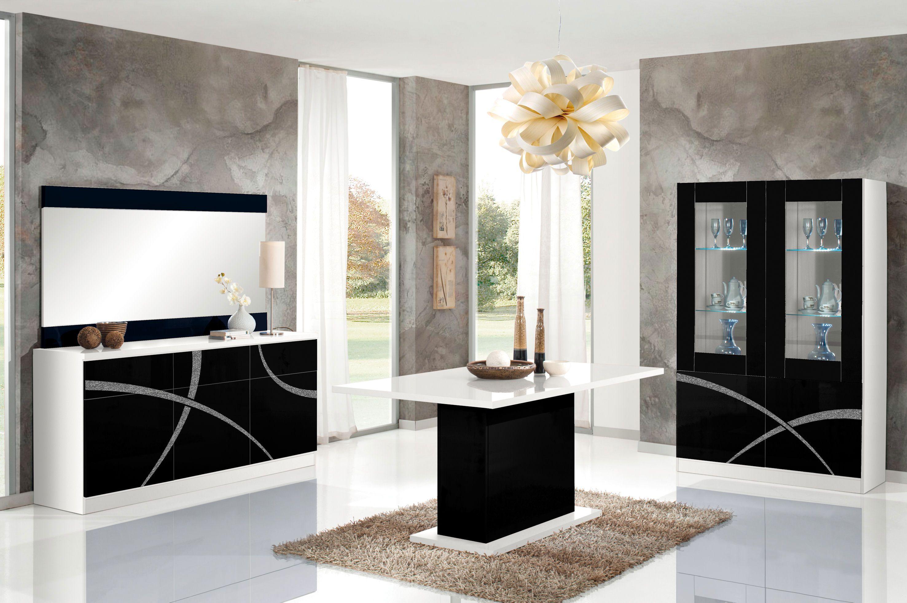 Salle Manger Noir Et Blanc Laqu Design Clairage Led Borgia  # Meuble Salle A Manger Blanc Laque
