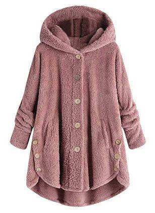 Long Sleeve Hooded Buttons Coats – Floryday @ floryday.com