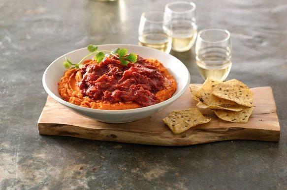 Roasted Sweet Potato Carrot Hummus #dips #chips #recipes #summer #hummus