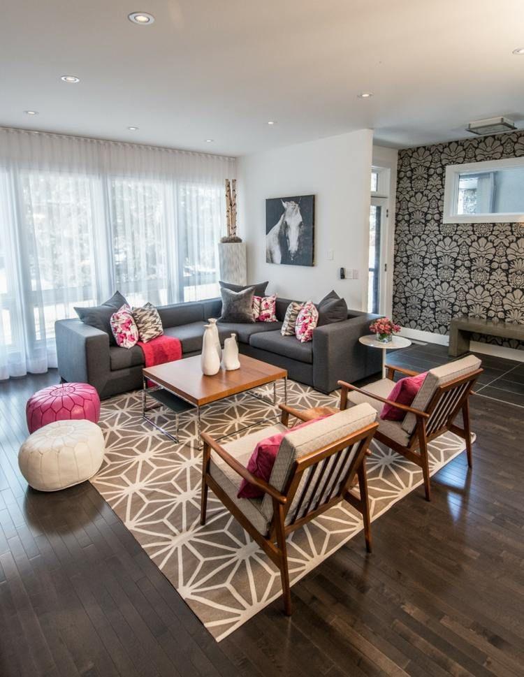 birkenstamm deko wohnzimmer-modern-grau-creme--pink | wohnzimmer ... - Wohnzimmer Grau Deko